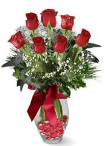 Sinop 14 şubat sevgililer günü çiçek  7 adet kirmizi gül cam vazo yada mika vazoda