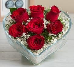 Kalp içerisinde 7 adet kırmızı gül  Sinop ucuz çiçek gönder