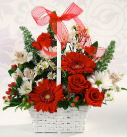 Karışık rengarenk mevsim çiçek sepeti  Sinop 14 şubat sevgililer günü çiçek