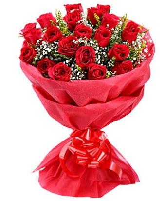 21 adet kırmızı gülden modern buket  Sinop çiçekçi mağazası