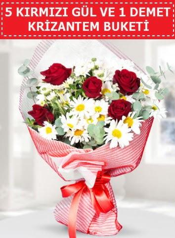 5 adet kırmızı gül ve krizantem buketi  Sinop internetten çiçek satışı