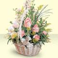 Sinop kaliteli taze ve ucuz çiçekler  sepette pembe güller