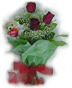 3 adet gül ve küçük ayicik buketi  Sinop çiçek online çiçek siparişi