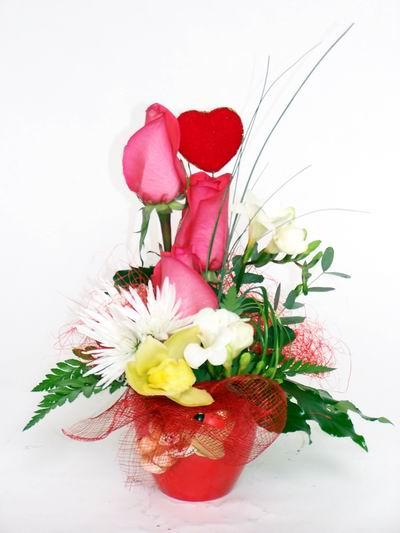 Sinop internetten çiçek siparişi  cam içerisinde 3 adet gül ve kir çiçekleri