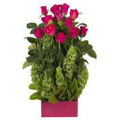 12 adet kirmizi gül aranjmani  Sinop İnternetten çiçek siparişi