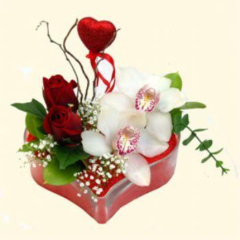Sinop yurtiçi ve yurtdışı çiçek siparişi  1 kandil orkide 5 adet kirmizi gül mika kalp