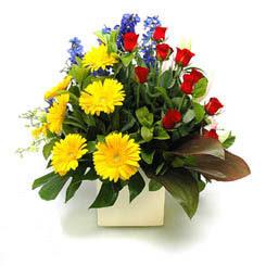 Sinop hediye sevgilime hediye çiçek  9 adet gül ve kir çiçekleri cam yada mika vazoda