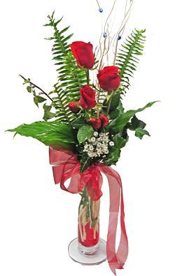 Çiçek gönderin cam vazoda 3 gül çiçekleri  Sinop cicek , cicekci