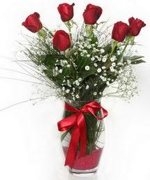 7 adet gülden cam içerisinde güller  Sinop kaliteli taze ve ucuz çiçekler