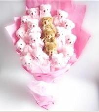 17 adet pelus ayicik buketi  Sinop çiçek , çiçekçi , çiçekçilik