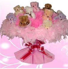 11 adet pelus ayicik buketi  Sinop internetten çiçek satışı