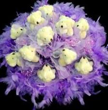 11 adet pelus ayicik buketi  Sinop çiçekçiler