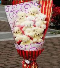 11 adet pelus ayicik buketi  Sinop internetten çiçek siparişi