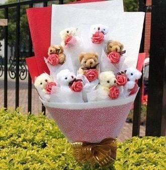 Sinop anneler günü çiçek yolla  9 adet ayicik ve 9 adet yapay gül