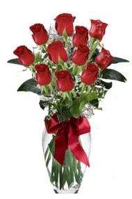 11 adet kirmizi gül vazo mika vazo içinde  Sinop kaliteli taze ve ucuz çiçekler