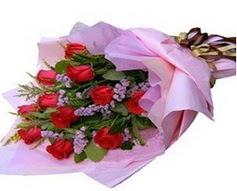 11 adet kirmizi güllerden görsel buket  Sinop ucuz çiçek gönder