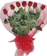 7 adet kipkirmizi gülden görsel buket  Sinop İnternetten çiçek siparişi