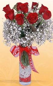 9 adet kirmizi gül cam yada mika vazoda  Sinop İnternetten çiçek siparişi