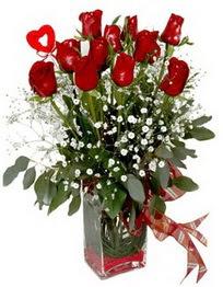 Sinop anneler günü çiçek yolla  9 adet mika yada cam vazoda gül tanzimi kalp çubuk