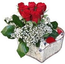 Sinop çiçek yolla  kalp mika içerisinde 7 adet kirmizi gül