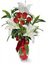 Sinop anneler günü çiçek yolla  5 adet kirmizi gül ve 3 kandil kazablanka