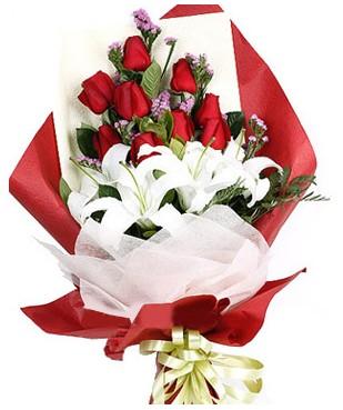 Sinop uluslararası çiçek gönderme  1 dal kazablankaa 9 adet kırmızı gül buketi