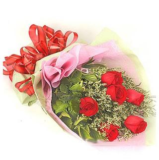 Sinop çiçekçiler  6 adet kırmızı gülden buket