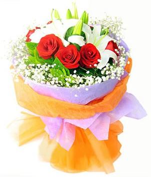 Sinop ucuz çiçek gönder  1 dal kazablanka 7 adet kırmızı gül buketi