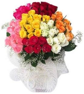 Sinop çiçek siparişi sitesi  51 adet farklı renklerde gül buketi