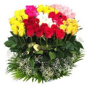 Sinop İnternetten çiçek siparişi  51 adet renkli güllerden aranjman tanzimi