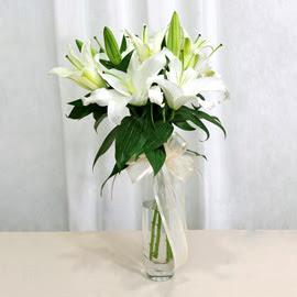 Sinop güvenli kaliteli hızlı çiçek  2 dal kazablanka ile yapılmış vazo çiçeği