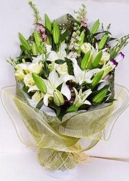 Sinop çiçek yolla , çiçek gönder , çiçekçi   3 adet kazablankalardan görsel buket çiçeği