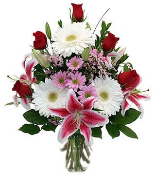 Sinop İnternetten çiçek siparişi  1 dal kazablanka 5 gül ve kırçiçeği vazosu