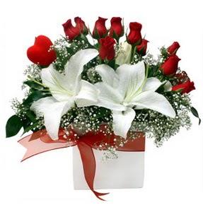 Sinop online çiçek gönderme sipariş  1 dal kazablanka 11 adet kırmızı gül vazosu