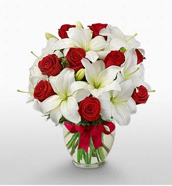 Sinop çiçek siparişi vermek  1 dal kazablanka 11 adet kırmızı gül vazosu