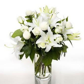 Sinop ucuz çiçek gönder  1 dal cazablanca 7 adet beyaz gül vazosu