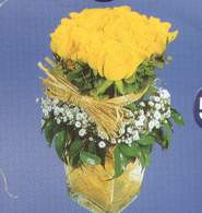 Sinop güvenli kaliteli hızlı çiçek  Cam vazoda 9 Sari gül