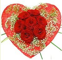 Mika kalp içerisinde 7 adet kırmızı gül  Sinop online çiçek gönderme sipariş