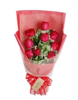 9 adet kırmızı gülden görsel buket  Sinop internetten çiçek siparişi