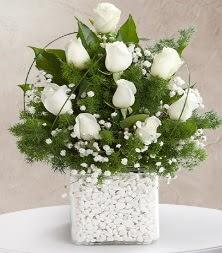 9 beyaz gül vazosu  Sinop internetten çiçek satışı