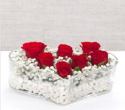 kalp içerisinde 7 adet kırmızı gül  Sinop anneler günü çiçek yolla