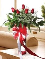 Camda 5 kırmızı gül tanzimi  Sinop çiçek siparişi sitesi
