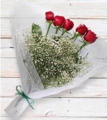 5 kırmızı gülden sade buket  Sinop hediye çiçek yolla