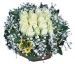 Sinop uluslararası çiçek gönderme  Beyaz harika bir gül sepeti