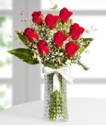 7 Adet vazoda kırmızı gül sevgiliye özel  Sinop cicek , cicekci