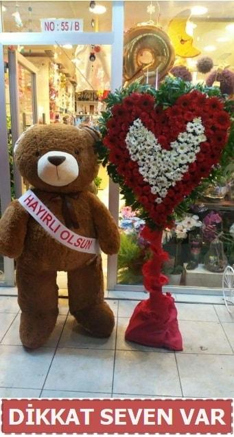 1.5 Metre peluş ayı ve Kalp  Sinop ucuz çiçek gönder