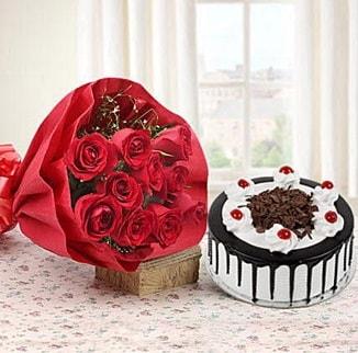 12 adet kırmızı gül 4 kişilik yaş pasta  Sinop çiçekçiler