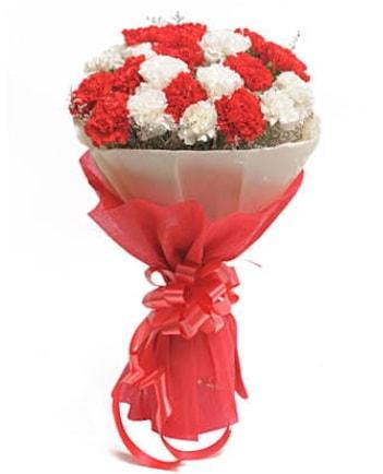 21 adet kırmızı beyaz karanfil buketi  Sinop internetten çiçek satışı
