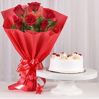6 Kırmızı gül ve 4 kişilik yaş pasta  Sinop çiçekçiler
