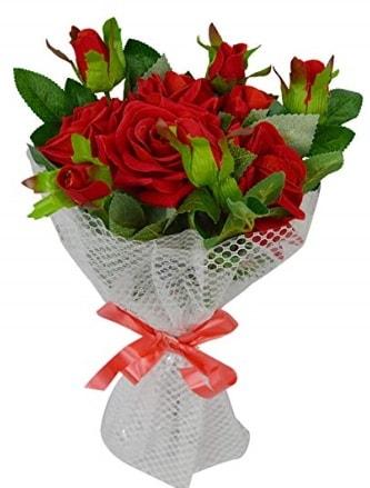 9 adet kırmızı gülden sade şık buket  Sinop çiçek siparişi sitesi
